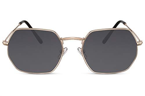 Cheapass Sonnenbrille Oktogonal Gold-en Grau Getönt UV-400 Rund Acht-Eckig Designer-Brille Metall Herren Damen