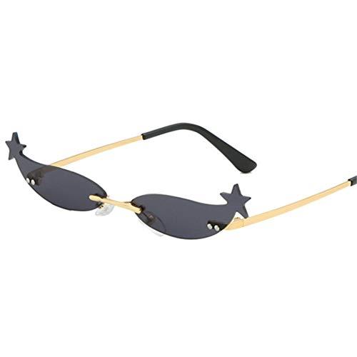 YOURSN Kleine Cat Eye Sonnenbrille Frauen Vintage Sexy Designer Randlose Sonnenbrille Designer Weiblichen Brillen Shades Uv400-Black