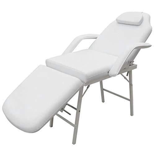 Galapara Kosmetikliege klappbar Kosmetikstuhl Massageliege Massagestuhl Tragbar Kunstleder Behandlungsliege mit Armlehnen 185×78×76 cm Weiß