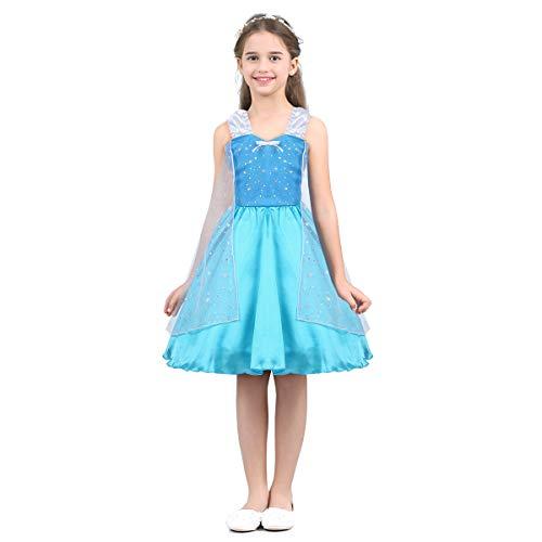 Agoky Prinzessin Kleid Mädchen Cosplay Kostüm Halloween Outfit Weinachten Fasching Karneval Verkleidung Party Geburtstag Bekleidung Hellblau 92-98/2-3 Jahre