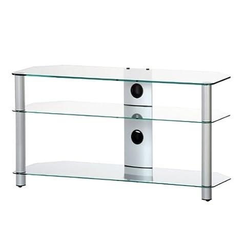 Ro & Co m-1303TG–Meuble TV de 3étagères. Verre transparent/châssis de couleur gris. Largeur