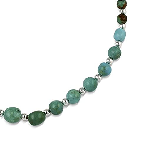 Sterling Silver Blue Green Turquoise Beaded Necklace