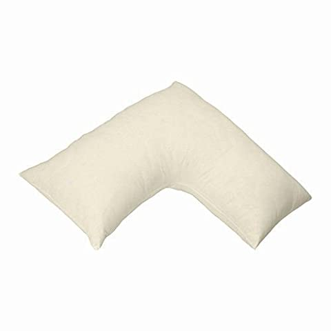 Homescapes Organic Cotton V Shaped Pillowcase Cream 400 Thread Count Percale Hypoallergenic Bedding for Orthopaedic / Pregnancy / Nursing Pillows