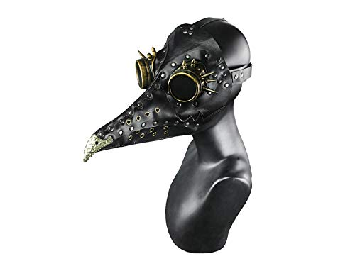 Steel Master Punk Vogel Schnabel Maske Pest Arzt lange Nase Kostüm Requisiten für Halloween Black F