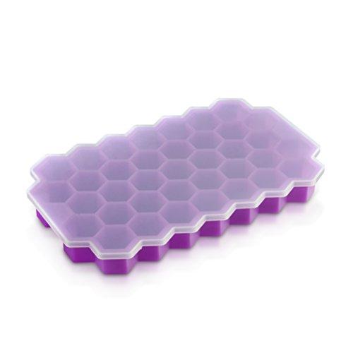 BESTOMZ Eiswürfelformen Silikon Eiswürfelbereiter mit Deckel Eiswürfelform 37 kleine Eiswürfel eingefroren