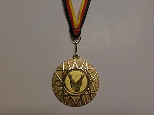 10 x Medaillen aus Metall 50mm - mit einem Emblem Bowling - Bowlen Logo - inkl. Medaillen Band - Farbe: Gold - (e225) -