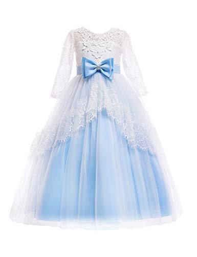 Besbomig Kinder Brautkleider Mädchen Kleider 3-14 Jahre mit Ärmeln - Spitze Schwanz Rock Backless Halloween Party Kostüm - Blau - 160 (Kostüme Disney Princess)