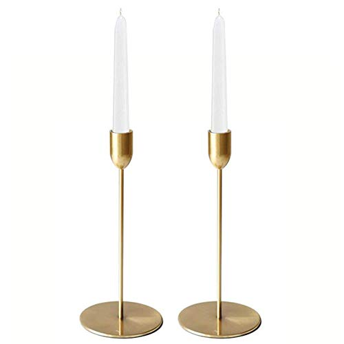 2x Goldene Einarmige Kerzenhalter