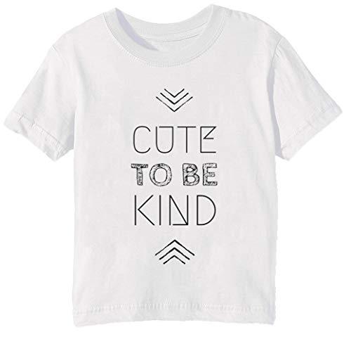 Cute To Be Kind Niños Unisexo Niño Niña Camiseta Cuello Redondo Blanco Manga Corta Tamaño M Kids Boys Girls White Medium Size M