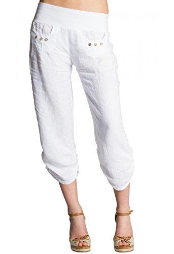 CASPAR KHS017 Damen 3/4 Leinen Hose, Farbe:Weiss, Größe:M - DE38 UK10 IT42 ES40 US8