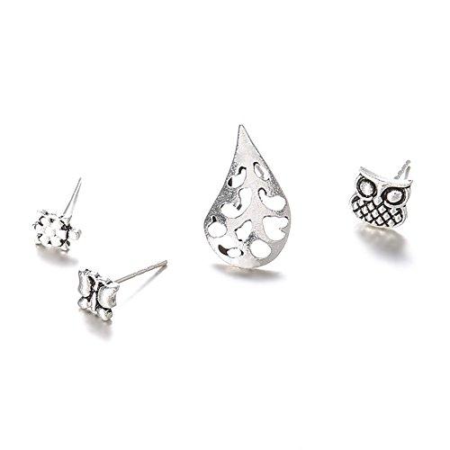 Sanwood 4pcs Weinlese-hohle Tier-Schildkröte-Eulen-Schmetterlings-Frauen-Bolzen-Ohrringe Stellten Geschenk Ein Silber - Lässige Eleganz-kollektion