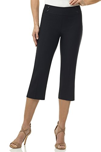Rekucci Women's Ease In To Comfort Fit Cropped Capri Trouser w/Button Detail