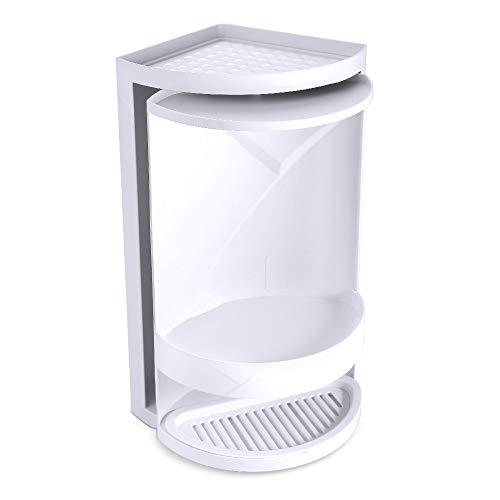 Dreieck drehen Regal Badezimmer 360 Grad Doppelschicht Lagerregal Ecke Dusche Veranstalter kosmetische Aufbewahrungsschrank (Weiß)