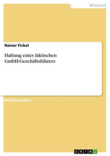 Haftung eines faktischen GmbH-Geschäftsführers