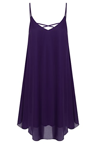 Parabler Damen Strandkleid Spaghetti Bügel Minikleid Blusenkleid Chiffon Kleid - Sommer-spaghetti-bügel-kleid