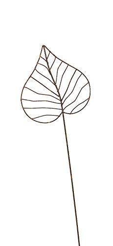 Gartenstecker Edelrost - Herzblatt klein - Rankhilfe Gartendeko Höhe 92 cm