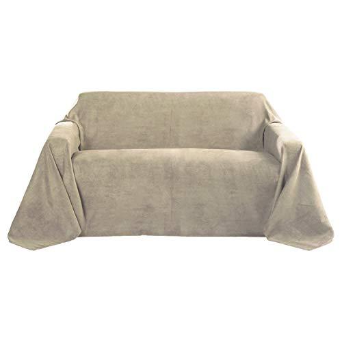 Beautissu Romantica Decke 210x280cm in Wildleder-Optik als Sofa-Überwurf Tagesdecke Plaid in Natur -