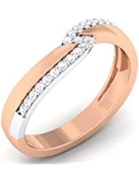 Two Tone 925 Sterling Silver Wedding Diamond Ring For Women