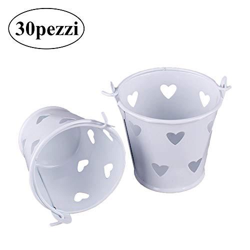 Gudotra 30pz piccole secchiello vasetti latta cuore gadget portaconfetti bomboniere comunione compleanno segnaposto matrimonio battesimo porta vaso confetti bianco