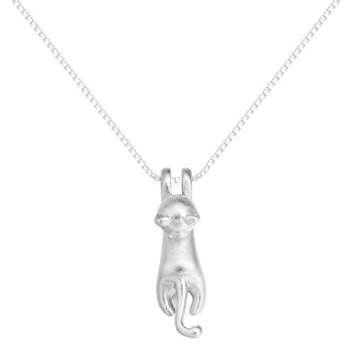 Collar de plata de ley 925Lovely saltando cat animal collares colgante collar bisutería hecha a mano