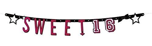 (Neu: 1 Buchstaben-Girlande * Sweet 16 * für Eine Party Zum 16. Geburtstag | Feier Sechzehn Teenie Teenager Dekoration Deko Motto Mädchen Pink Girl Banner)