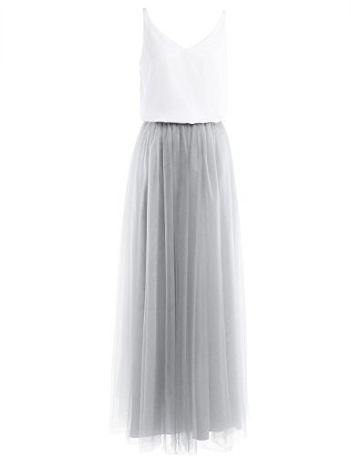 YiZYiF Damen Kleid Festliche Kleider Brautjungfer Hochzeit Cocktailkleid Abendkleider Tüll Kleid 2-teilig Tanktop mit Maxirock Tüllrock Strandkleid Grau EU 36 (Herstellergröße: 6) -