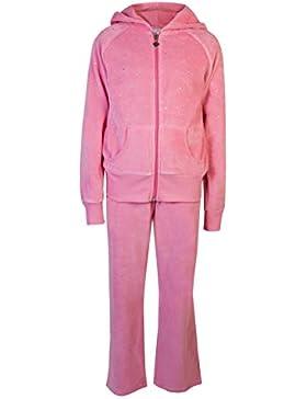 Childrens terciopelo Chándal Niñas Kids Play desgaste diamante Sparkle Velour Suit de deporte chaqueta y pantalones...