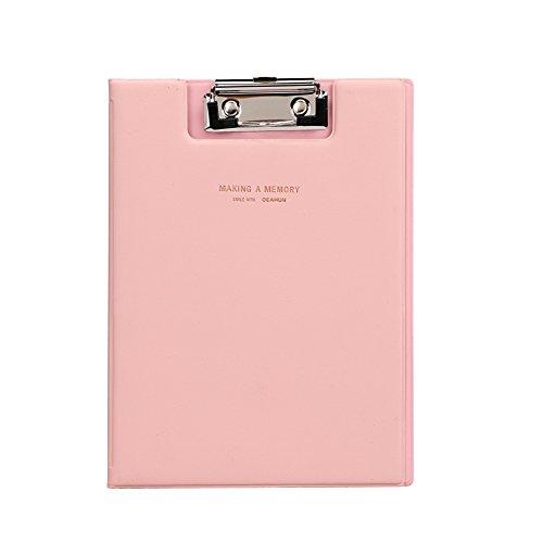 Kunstleder Klemmbrett mit Metallclip Ordner A5 Schreibmappe Ringbuch Dokumente Organizer Mappe mit Folienüberzug Schreibbrett Sammler Ordnungsmappe für Kinder Erwachsene Pink