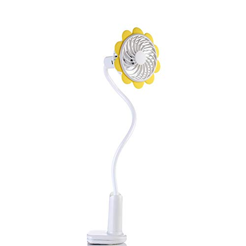 HDLWIS USB Portable Clip On Stroller Fan, 2 Speeds Settings, Flexible Bendable Mini Personal Desk Electric Fans mit wiederaufladbarer Batterie für Bett, Dorm, Auto,Yellow