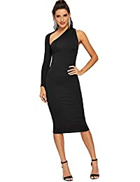 903172438 JJHR Vestido Vestido De Fiesta Ajustado Negro De Un Solo Hombro Recortado Y  Delgado De Manga Larga Primavera De Las Mujeres Corte Ajustado…