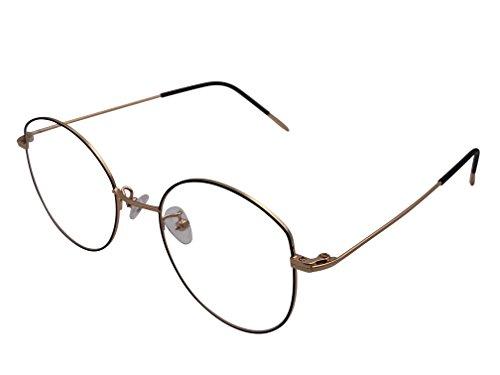 XYAS Oval Unsix Metall Lesebrille klare linse Wechselgläser klassische Brille(328,Schwarz-Gelb)