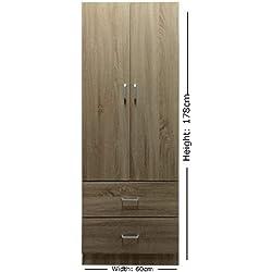 Lyon 60cm de large Chambre à coucher Armoire 2portes 2tiroirs-Finition chêne Sonoma
