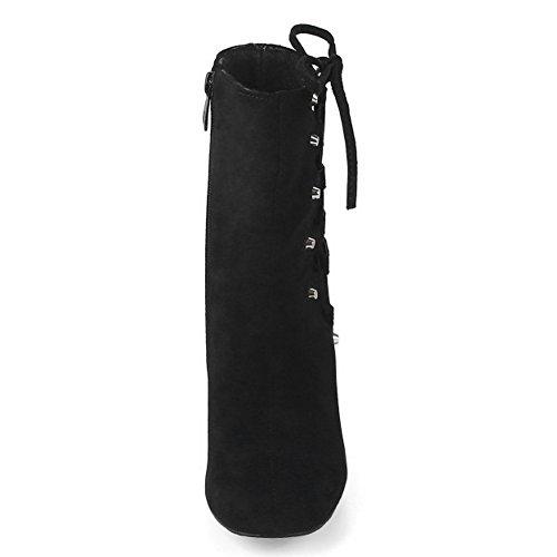 TAOFFEN Femmes Bottines Automne Hiver Bloc Talon Haut Bottes Lacets Cote Black