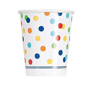 Unique Party 58256 - Vasos de fiesta, diseño de lunares de colores con texto en inglés, Multicolor