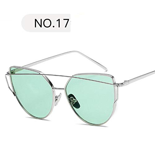 HPPL Metall Sonnenbrille Frauen Cat Eye Design Spiegel Roségold Vintage Cateye Mode Sonnenbrille Lady Brillen, c17