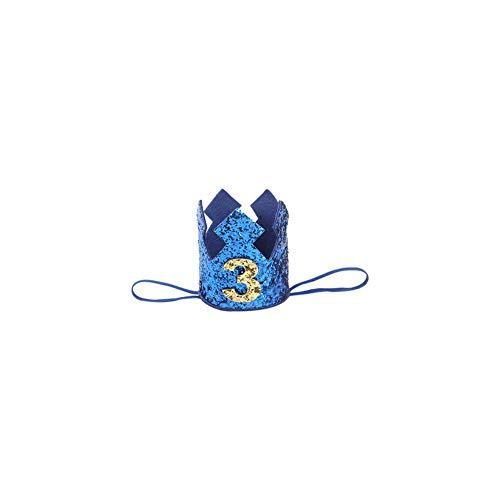 JingYuan Baby-Geburtstag Crown Hat Number 3 Stirnband Kleine Prinz Prinzessin Kuchen Smash Foto Prop Party Supplies ()