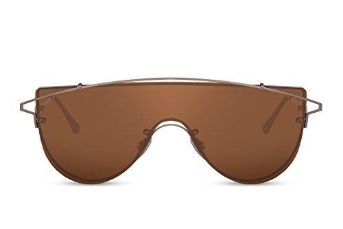 Cheapass Herren-Sonnenbrille Braun Gold-en Groß UV-400 Lichtschutz Metall-Rahmen Männer