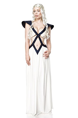 Dragon Queen Damen Kostüm für Game of Thrones Fans 2tlg Kleid Perücke weiß blau