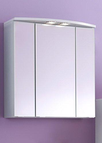 Wohnorama 3D-Spiegelschrank 60 inkl LED Strahler Parma von Held Möbel Weiß by