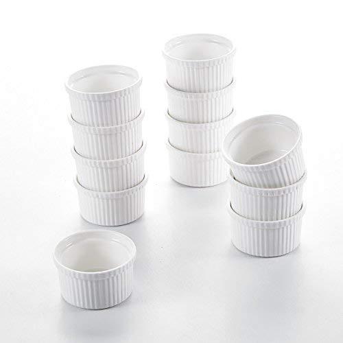 Malacasa, Serie Ramekin.Dish, Set da 12 Pezzi, Mini Forms Stampo di Muffa - 7 cm Muffin Porcellana Cupcake Coppe di Cottura Stampi di Pasticceria
