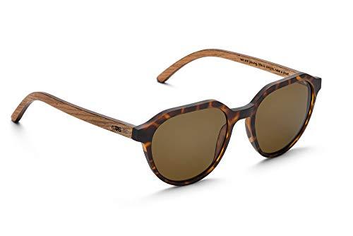 TAKE A SHOT - Flattop Holz-Sonnenbrille unisex, Holz-Bügel, Kunststoff-Rahmen, UV400 Schutz, rückentspiegelte Gläser - Francis -