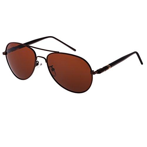 Preisvergleich Produktbild Metallrahmen Dekobrille Forepin® Piloten Gläsern UV400 Polarisierten Sonnenbrillen Aviator Unisex, , Braun