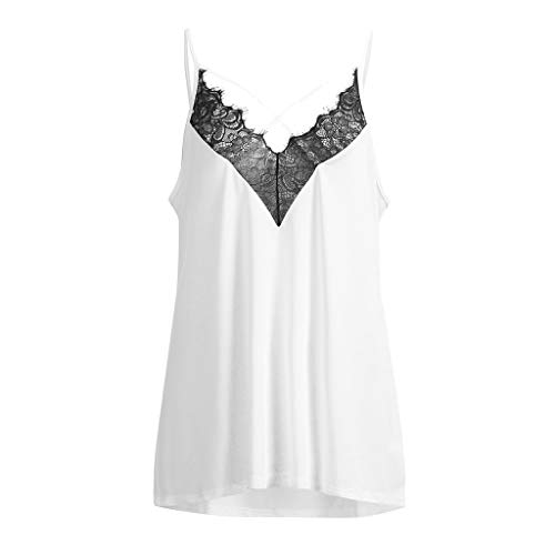 f1ab823984 Higlles Fashion Damen Weste Camis, Lässig V-Ausschnitt Ärmellos Plus Size  Solide Lace Tank