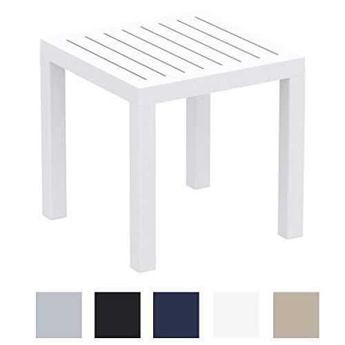 CLP Beistelltisch Ocean I Wetterfester Gartentisch aus UV-beständigem Kunststoff I witterungsbeständiger Tisch Weiß - Weiße Outdoor-beistelltisch