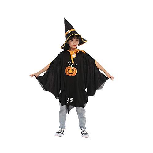JINHUA Halloween kostüm kinder jungen und mädchen Maske mantel mantel requisiten cosplay dekoration jungen und mädchen kindergarten leistung kleid zeigen kostüme (Geschenk artikel)-black (Prostituierte Halloween Kostüm)
