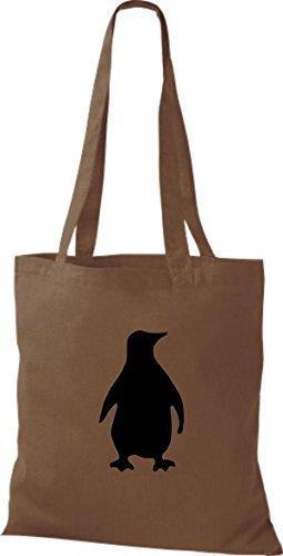 Shirtinstyle Stoffbeutel Pinguin Baumwolltasche Beutel, diverse Farbe chestnut