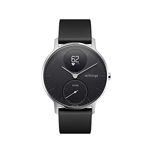 Withings Steel HR Hybrid Smartwatch - Fitness Watch with heart rate and activity measurement, 36mm - Black, Black Silicone Strap