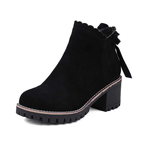 DANDANJIE Damen Stiefeletten Chelsea Casual Booties Schuhe Damen Anti-Slip Martin Stiefel Herbst Winter Vintage Stiefel Schwarz,Black,39EU