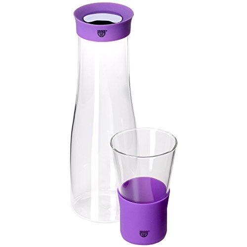 GRÄWE Glaskaraffe 1 Liter mit Trinkglas 0,3 Liter - Ausgießer aus Silikon, lila, Verschluss aus Edelstahl