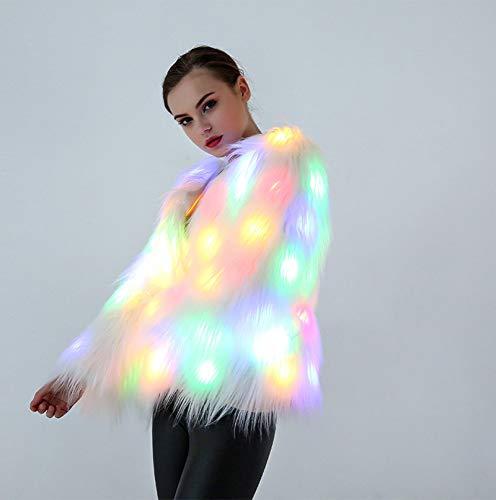 SBL Nightclub Kostüm - Weihnachten Halloween Kostüm - Nacht Kleid LED Light Stage Dress,Weiß,S